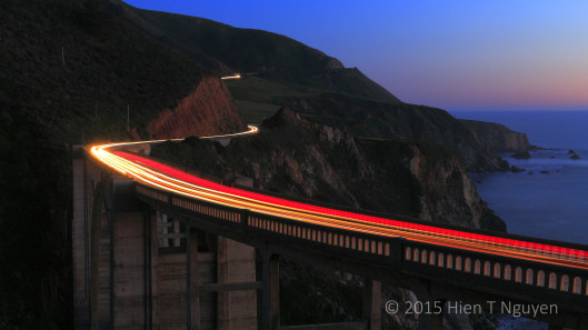Bixby Bridge at night.