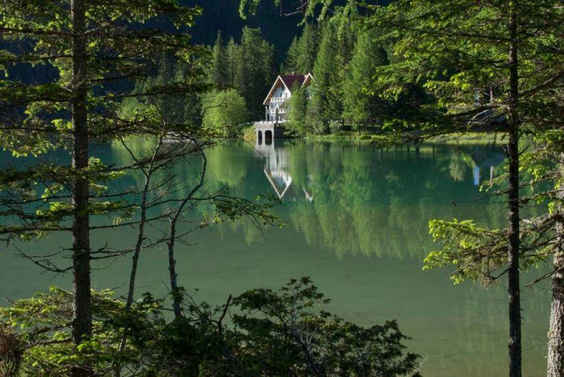 House on lake shore