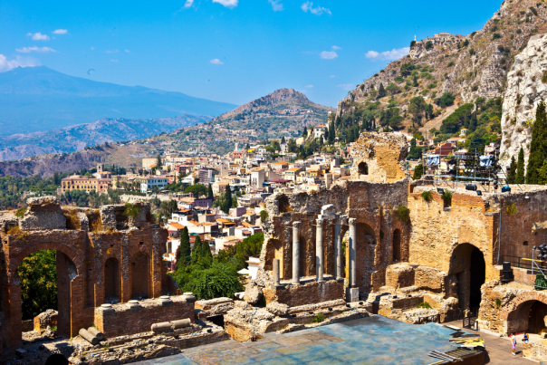 Taormina-Theater in Sicily-You can even travel by train to Sicily in Italy